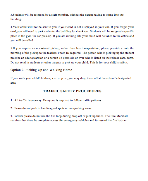 La Paloma Elementary Student Drop off/ Pick-Up Safety Procedures 2018 - 2019