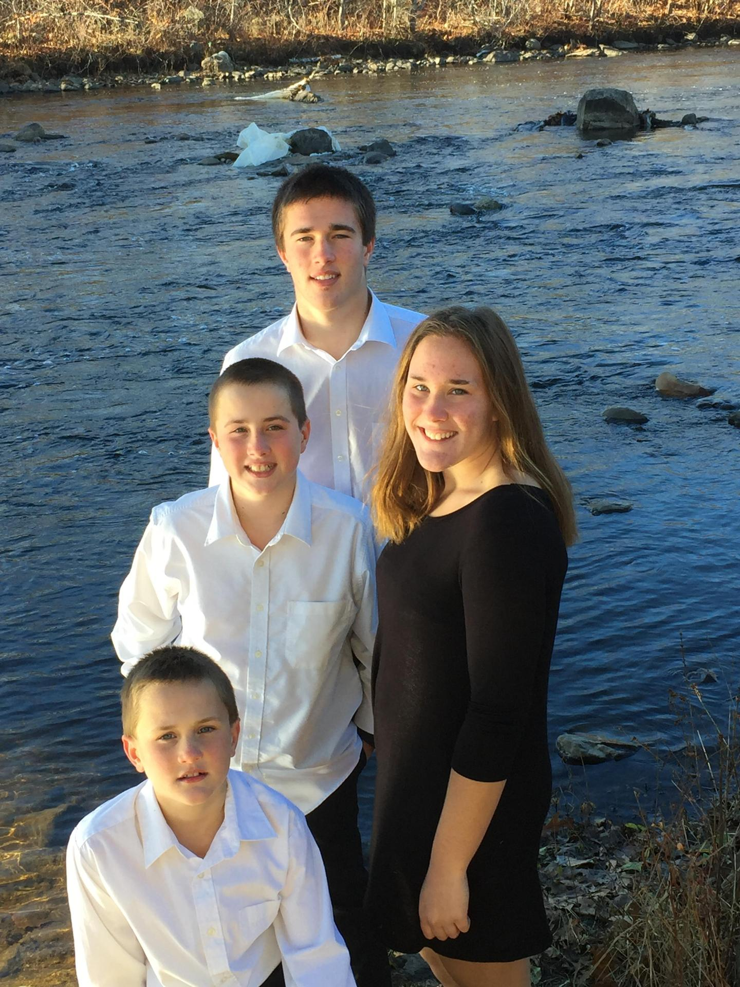 Family photo of my four children on the Naugatuck River