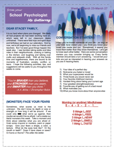 Week 1 Psychologist Newsletter