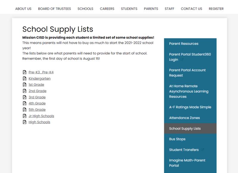 MCISD School Supply List 2021-2022 Featured Photo
