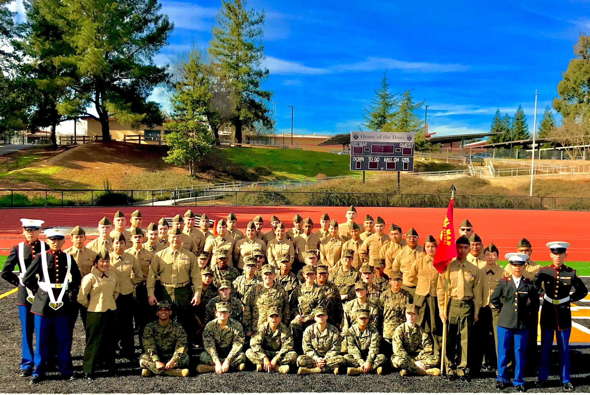 MCJROTC cadets group photo on Del Mar field