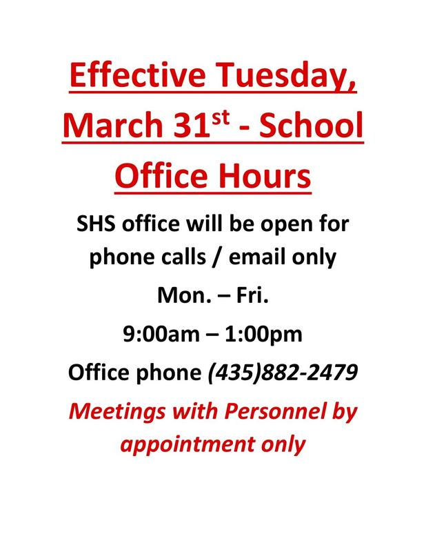 Stansbury High School Office Hours effective 3-31-2020