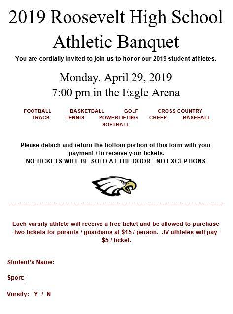 Ticket informatoin for athletic banquet