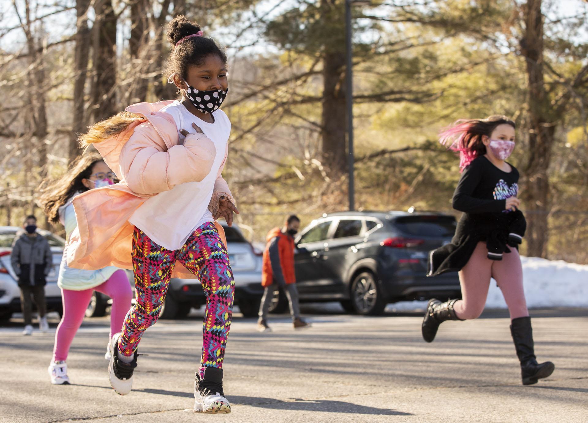 Hop Brook students running