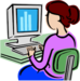 clipart of student sitting at a computer