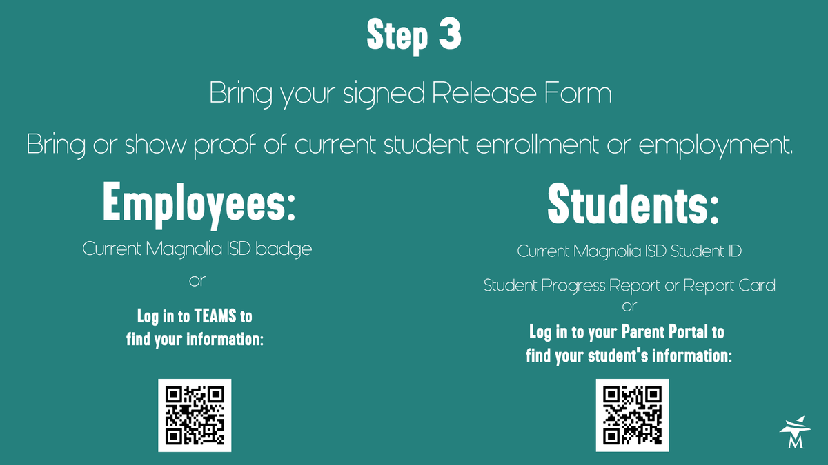 Step 3 Bring proof of current enrollment or employment and your Release Form