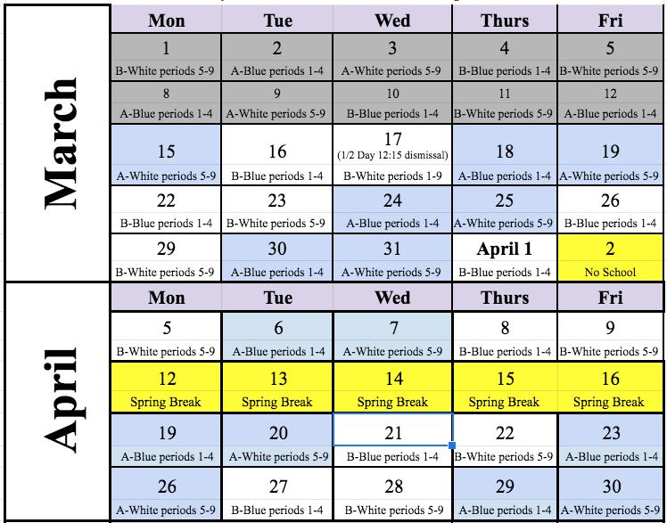 March/April 2021 Cohort Schedule