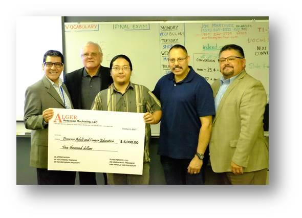 Alger Precision Machining Donating a Check to Machinist Program