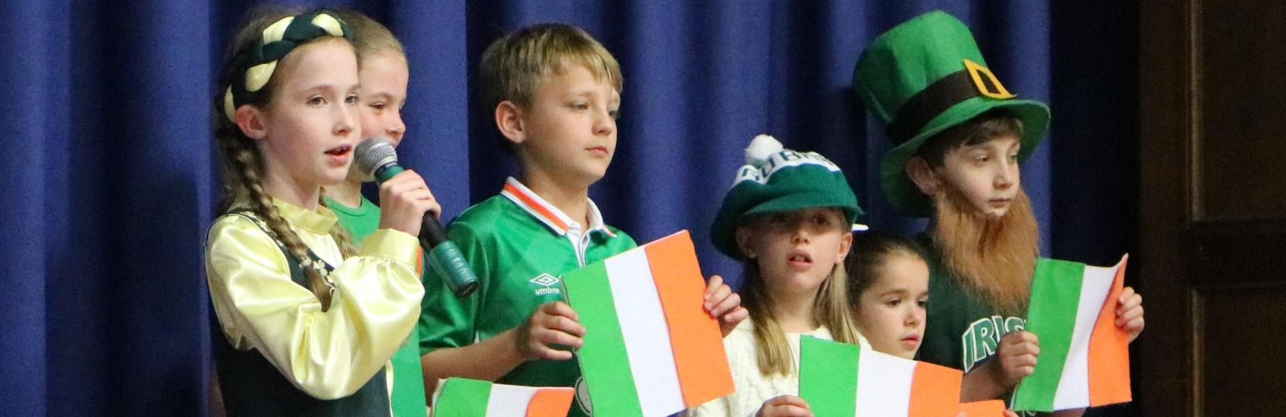 Photo of McKinley 4th graders representing Ireland in a recent International Celebration.