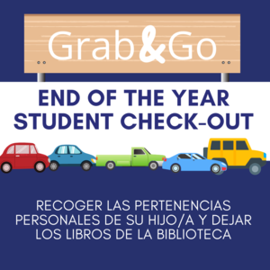 Grab & Go end of the year student checkout with line of cars.