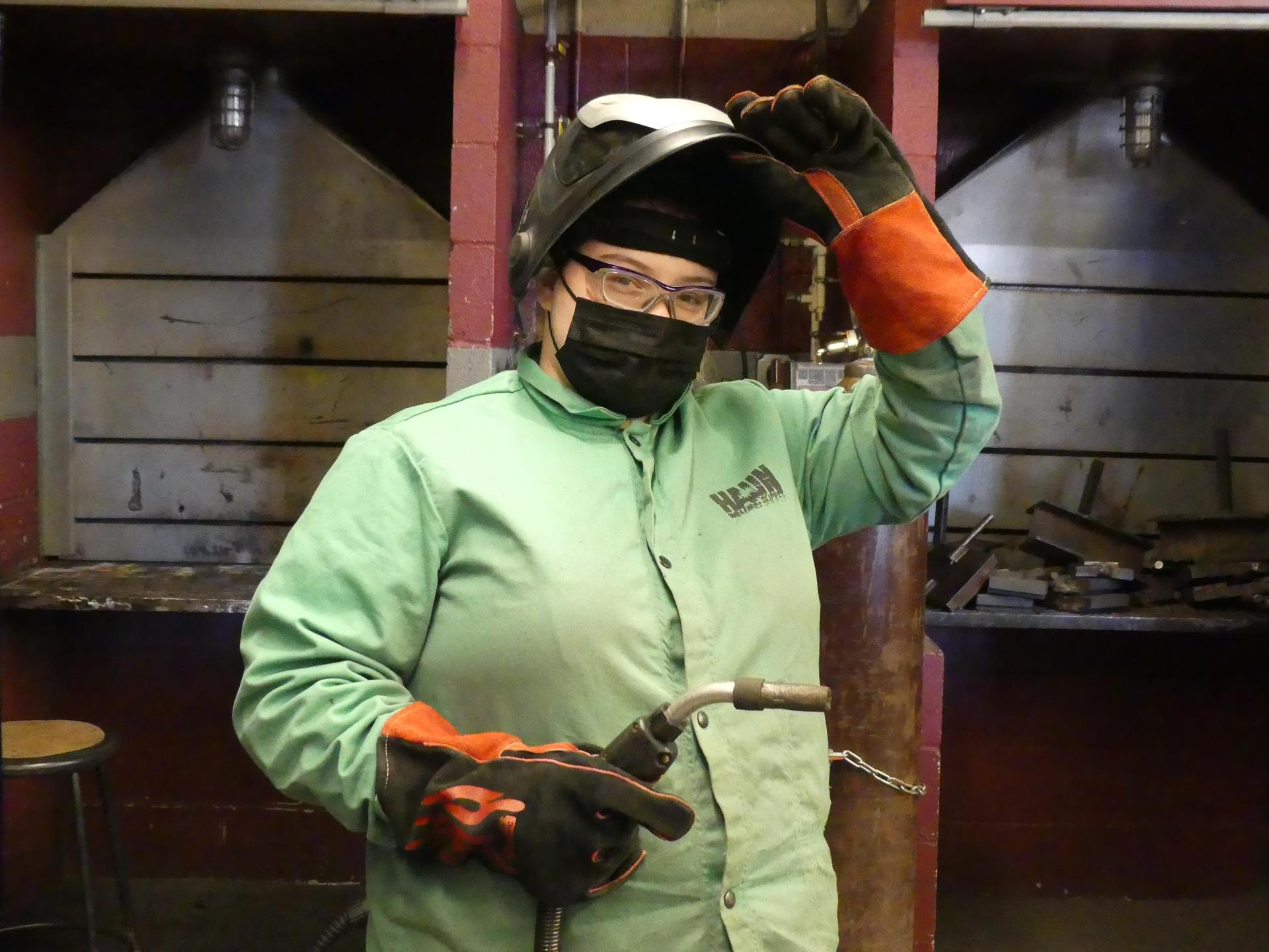 Montana Bryant in welding class