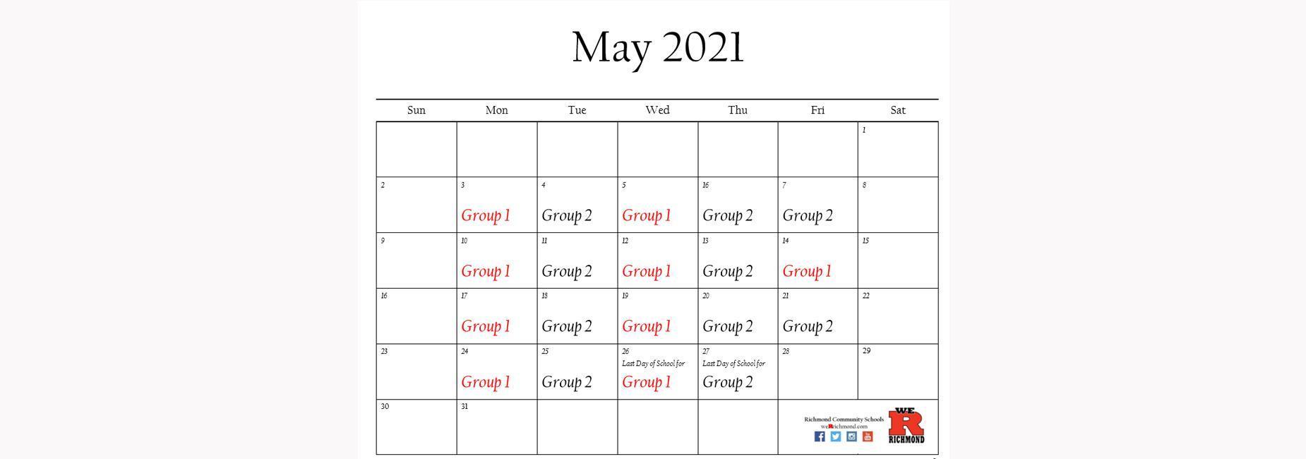 May 2021 Hybrid Calendar