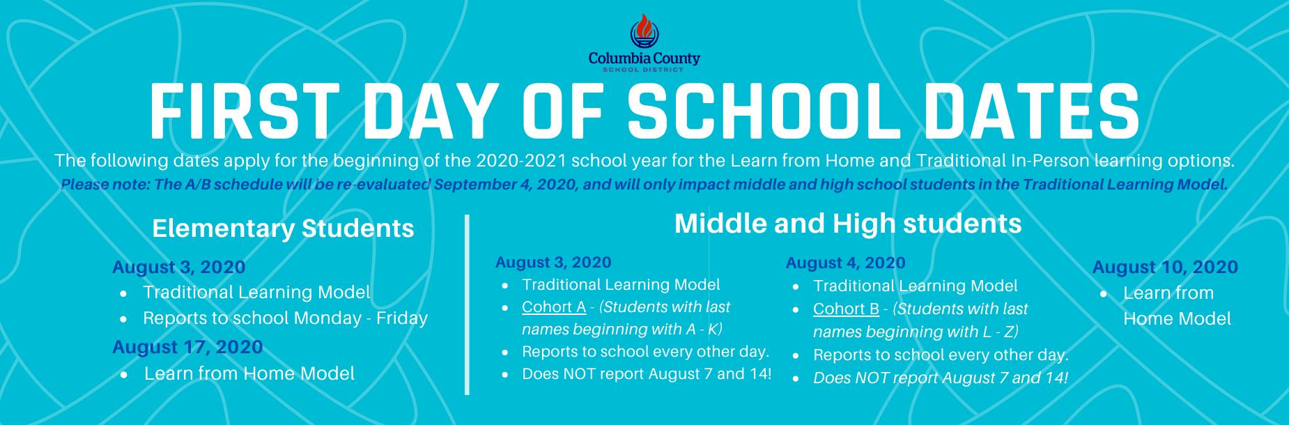 School Start Dates!!