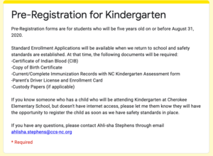 2020-2021 Kindergarten Registration