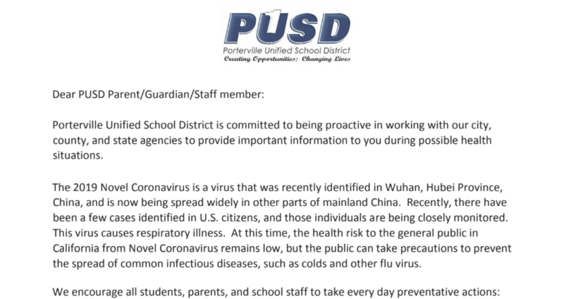 Section of Parent Letter- Coronavirus