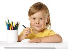Preschooler holding a pencil