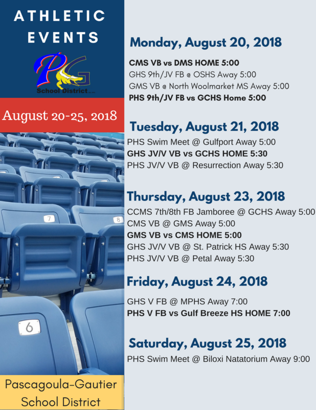 Athletic Events for Week of Aug. 20-25, 2018