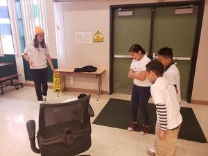 group of students participate in team-building activity