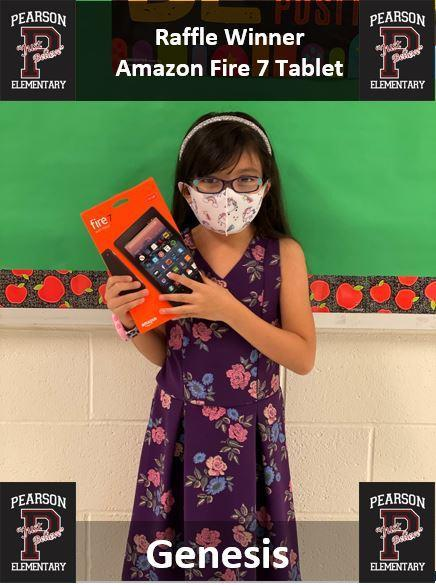 Congratulations to Genesis, 2nd Grade, for being the lucky winner of our reading raffle held at the library in Pearson Elementary.  Genesis won an Amazon Fire 7 Tablet.  Way to go Genesis.  Remember to keep reading! Featured Photo