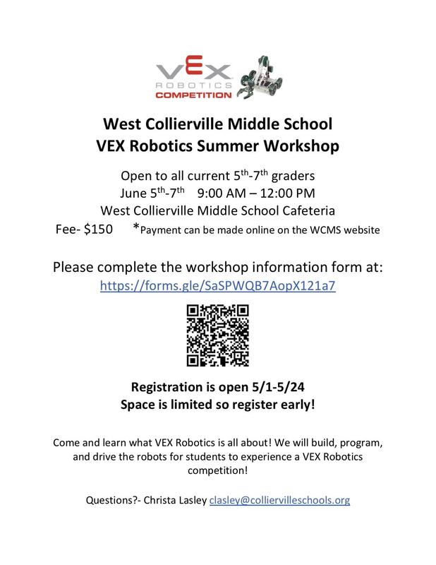 WCMS VEX Robotics Summer Workshop - Current 5th-7th graders welcome! Featured Photo