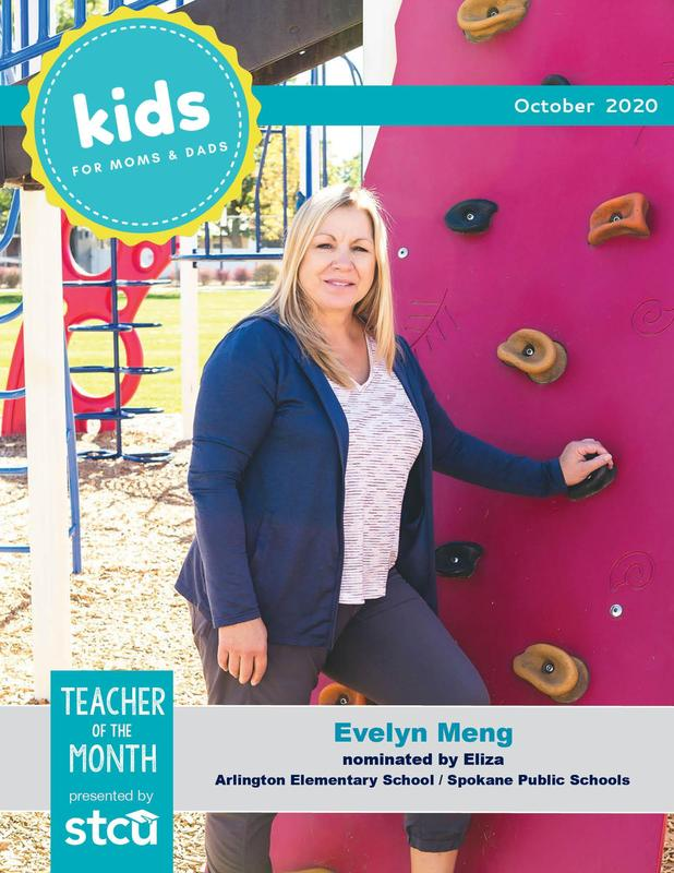 October cover of Kids Newspaper for Moms and Dads, featuring Evelyn Meng, Teacher of the Month