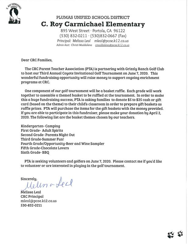 Spanish letter seeking donations, volunteers and golfers