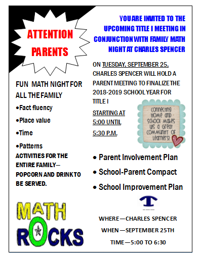 Math Night Flyer September 25, 2018