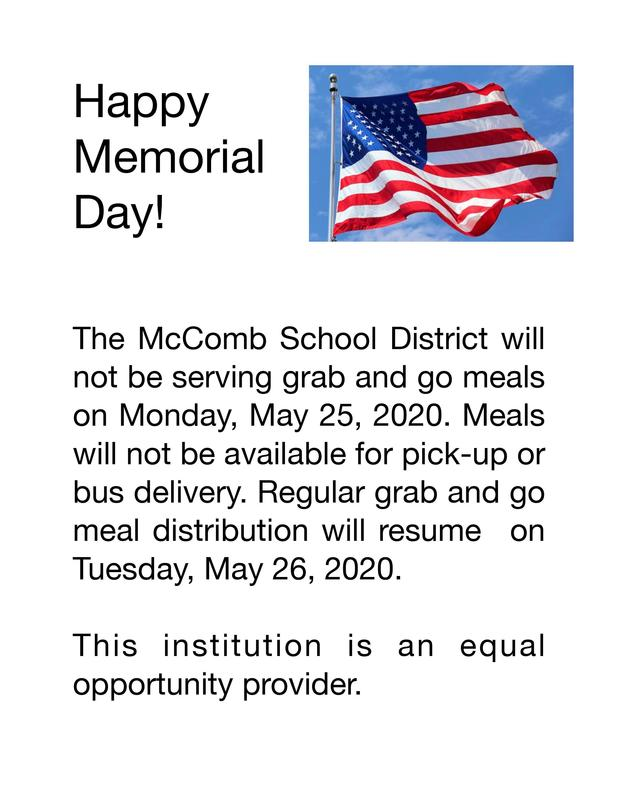 No meals on Memorial Day