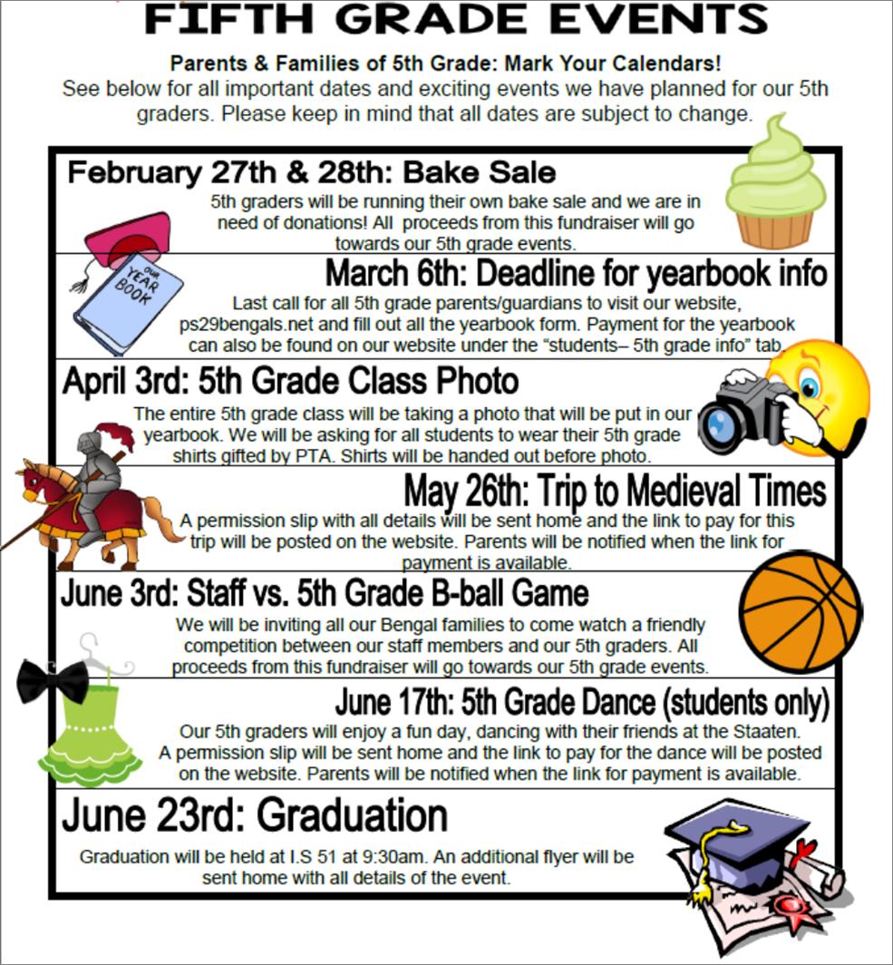 5th grade events
