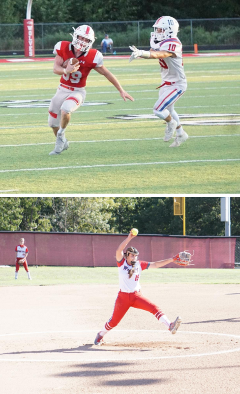 picture of football game and softball game
