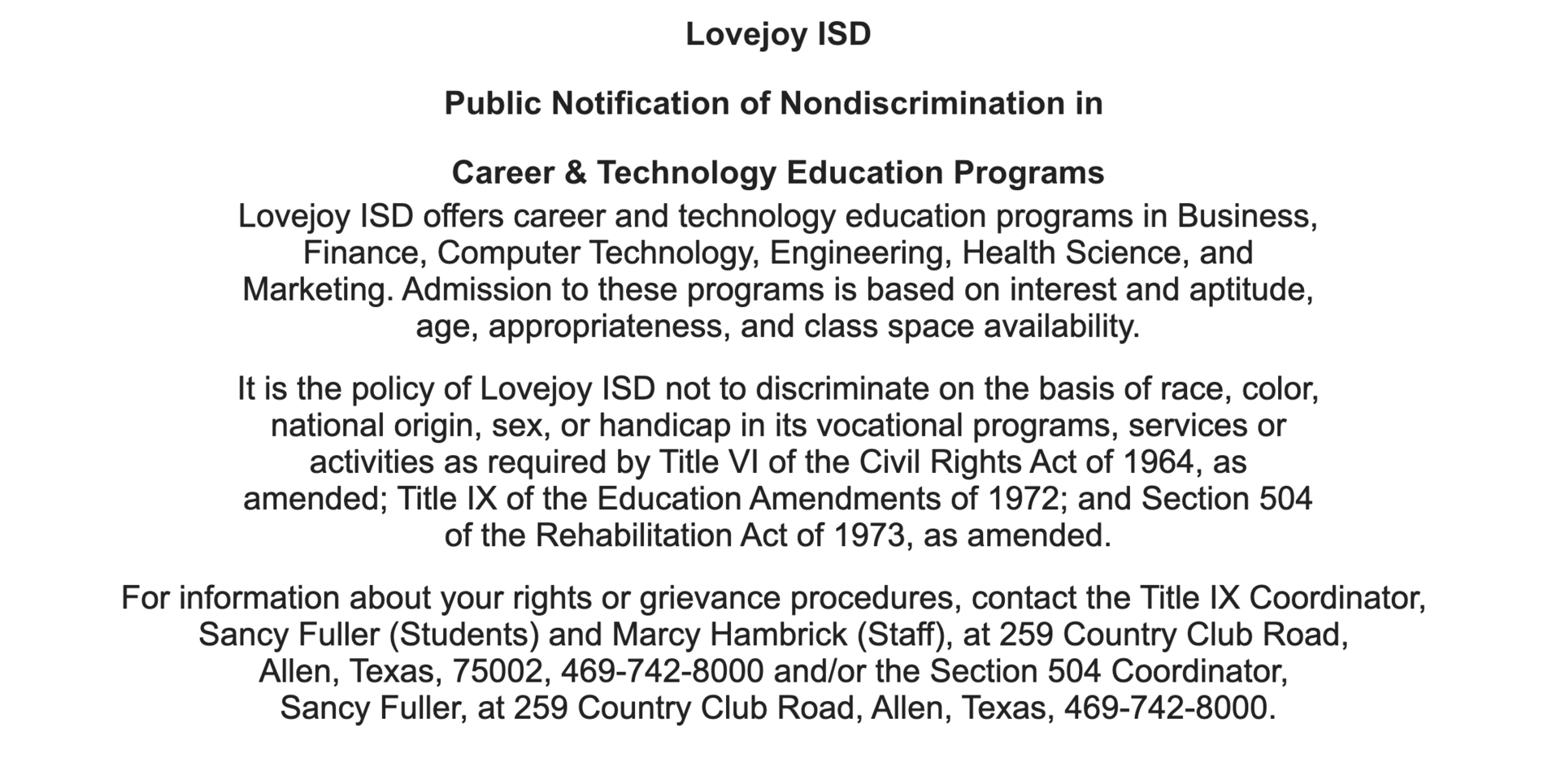 Public Notification of Nondiscrimination in Career & Technology Education Programs statement