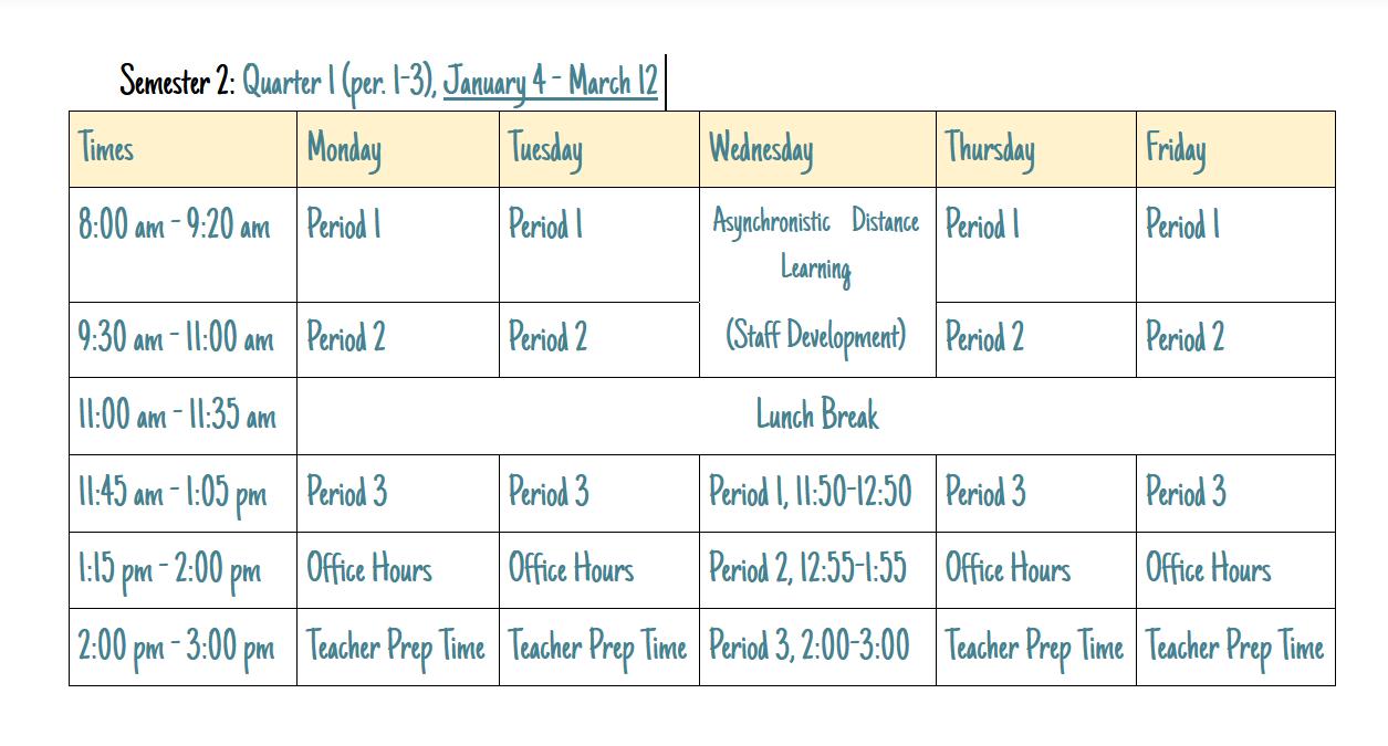 Semester 2  Schedule