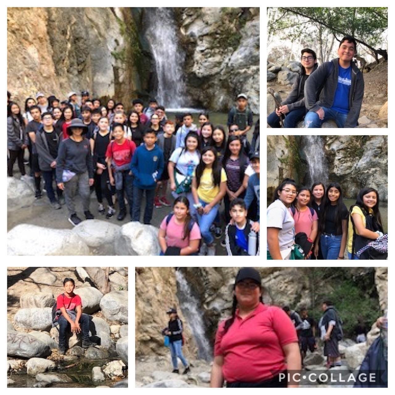 Students at waterfall