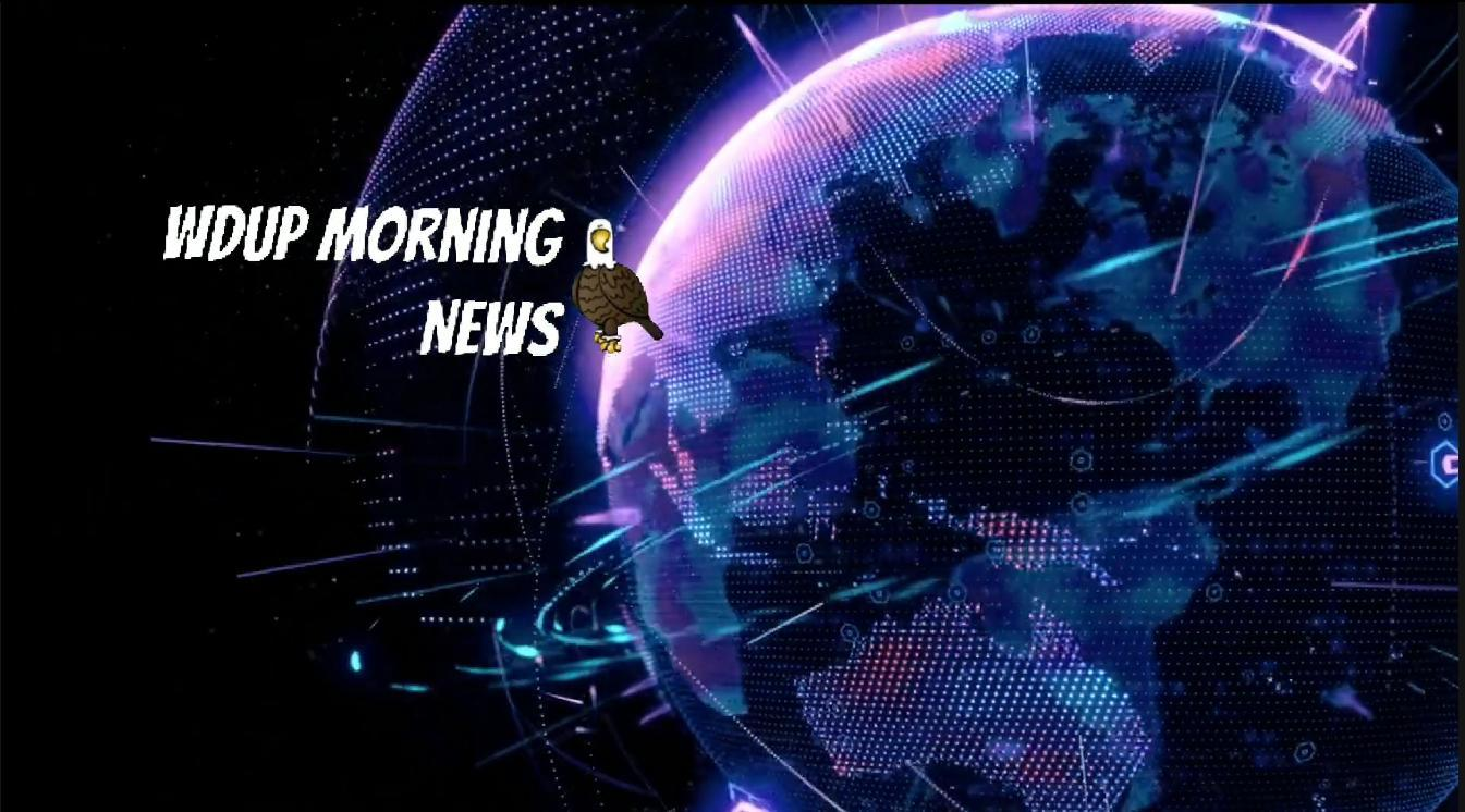 Purple Globe with text WDUP Morning News