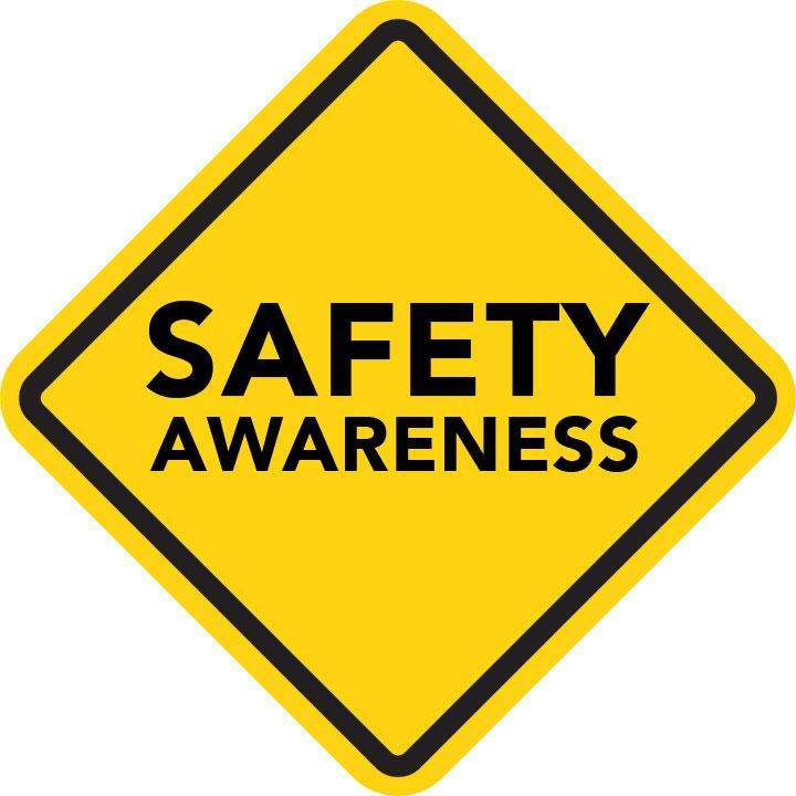 Yellow safety awareness sign