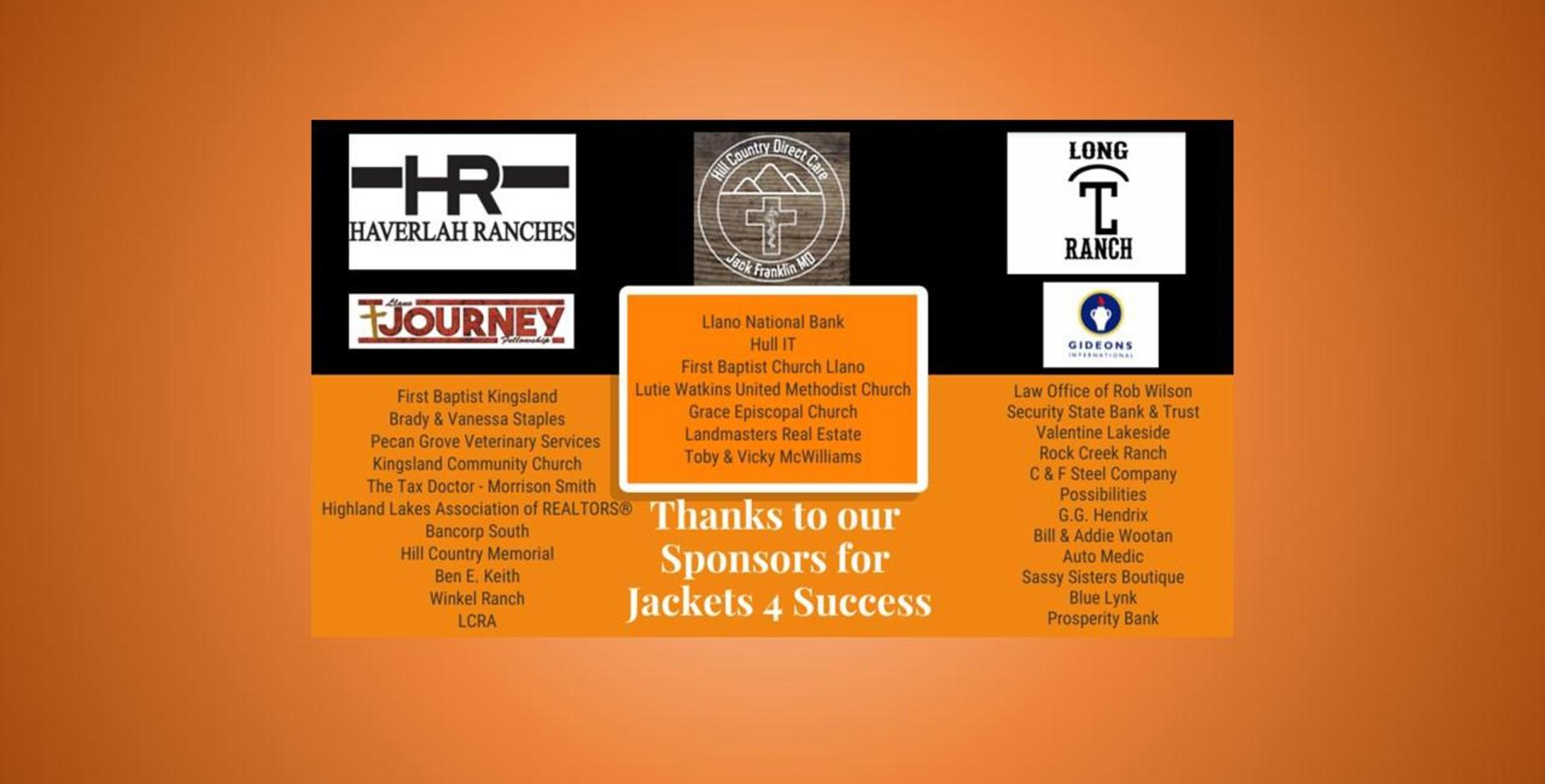 Thank you Jackets 4 Success Sponsors