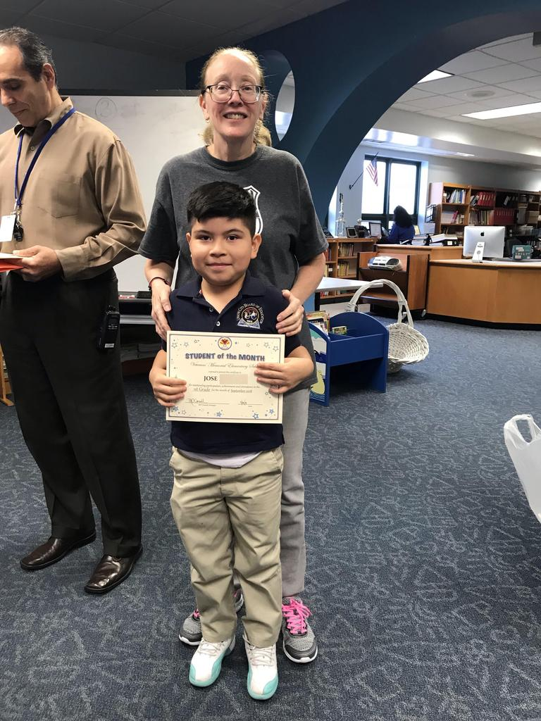 student of the month jose grade 1 with principal O'connel