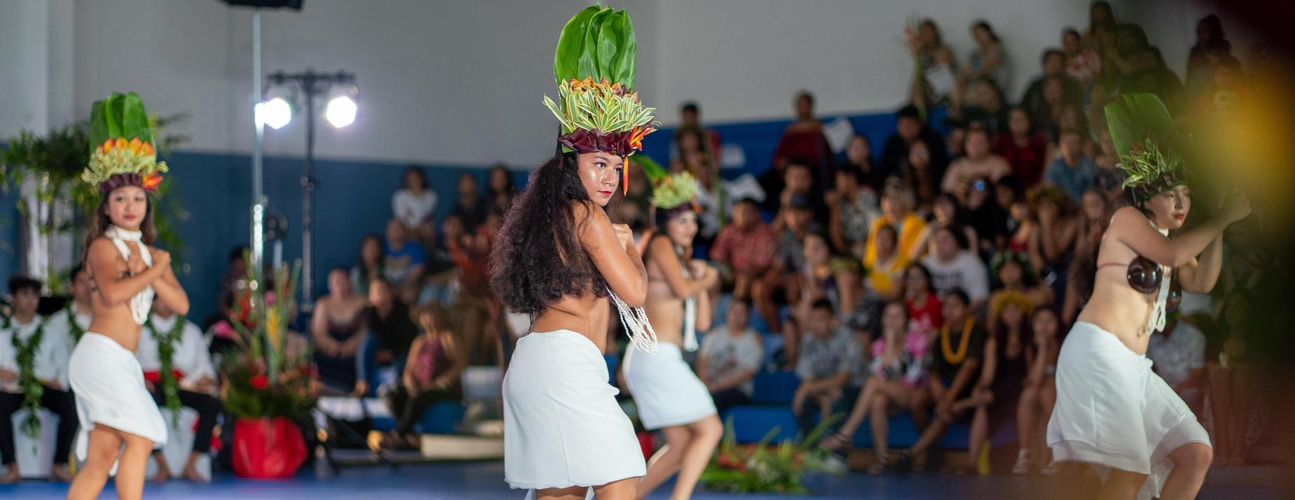 Tahitian dancers perform at the 2019 May Day.