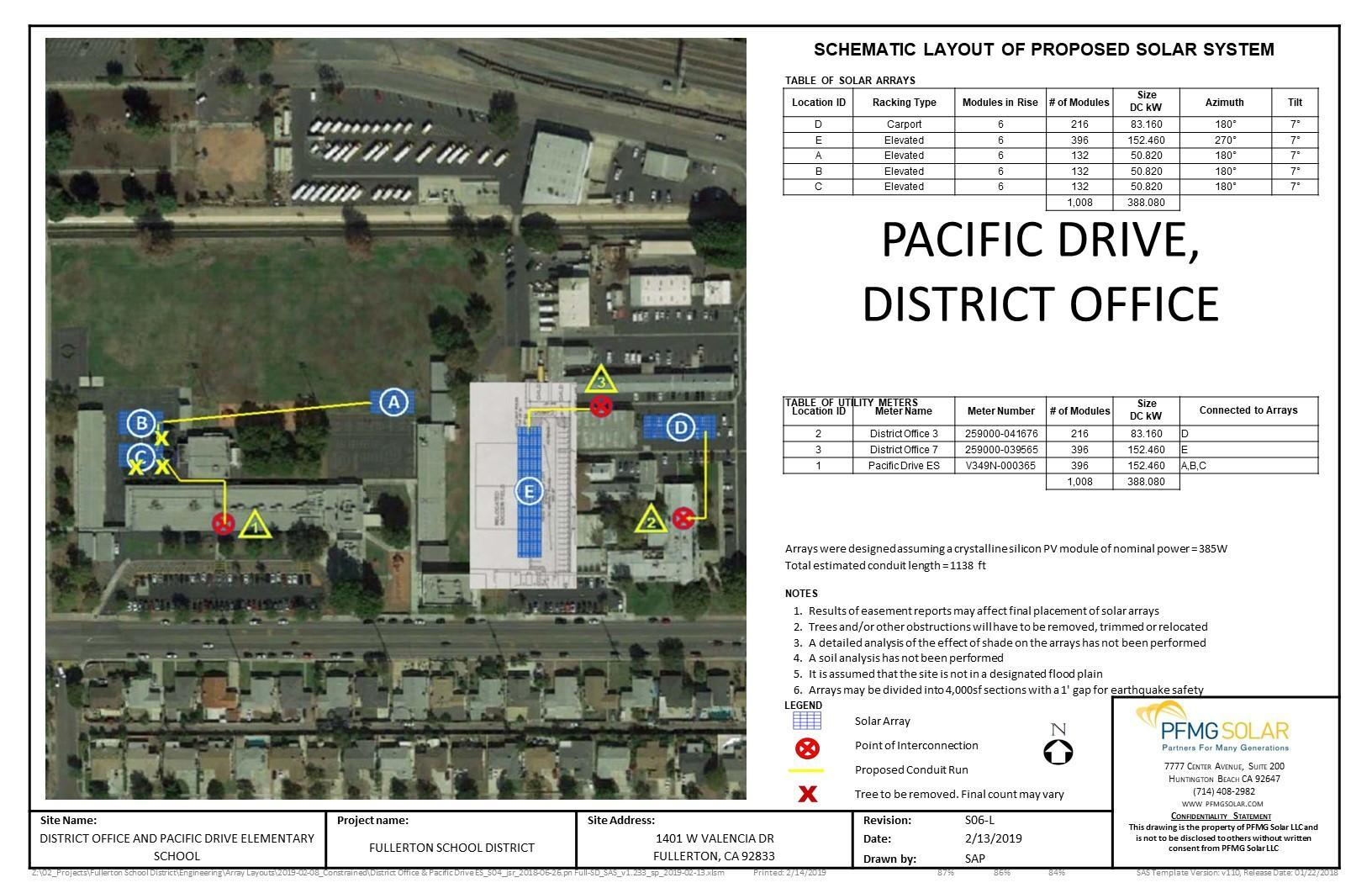 Pacific Drive Elementary, District Office Schematic Layout of Proposed Solar System