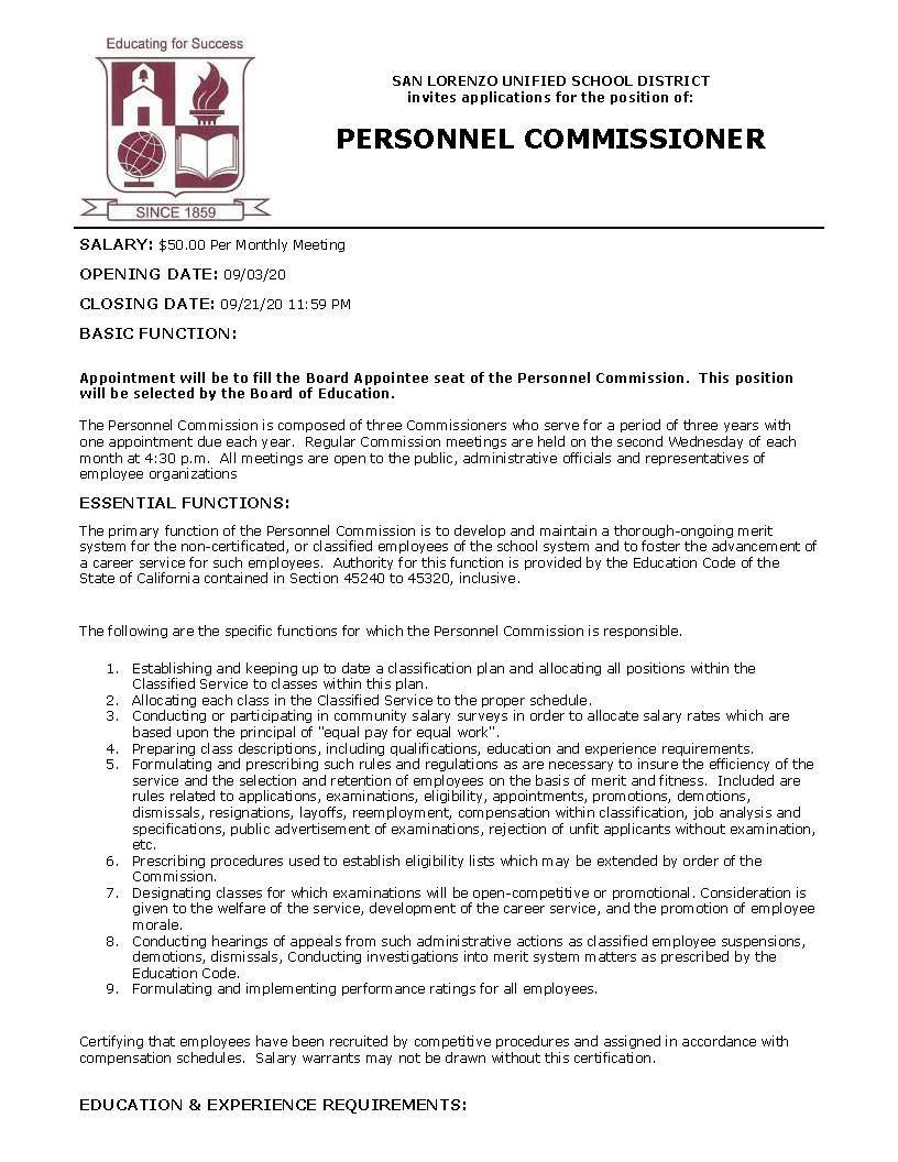 BECOME A PERSONNEL COMMISSIONER FOR SAN LORENZO UNIFIED SCHOOL DISTRICT
