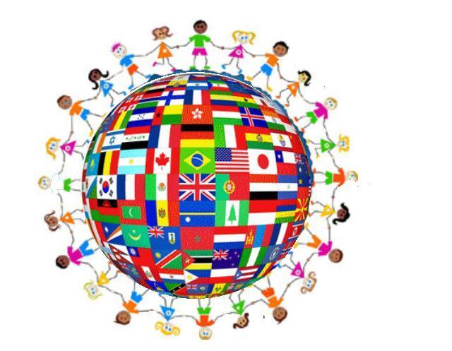 the world with students holding hands in different colors and different flags