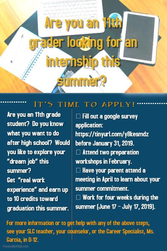 Summer Internships for 11th graders! Featured Photo