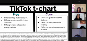 Tiktok t-chart slide shown to zoom class