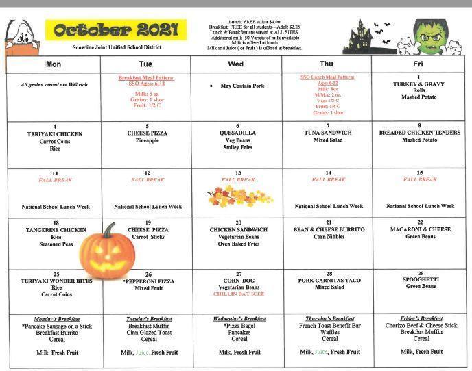 Oct. Menu