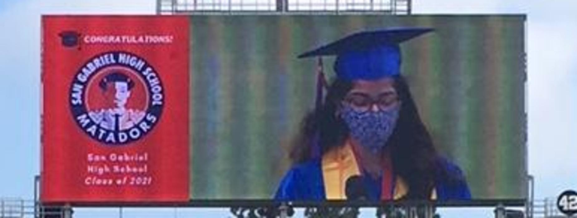 SGHS 2021 Graduate on screen