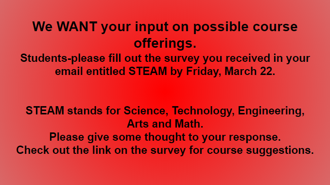 Attention Students!!! We want your input on possible course offerings. Featured Photo