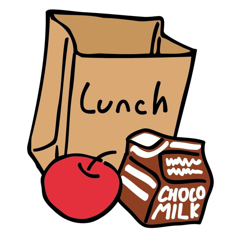 brown bag, apple, milk carton