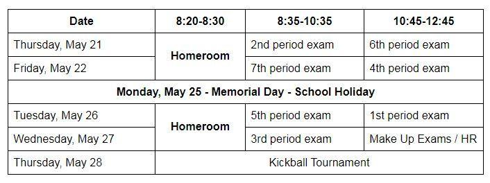 Spring 2020 Exam Schedule