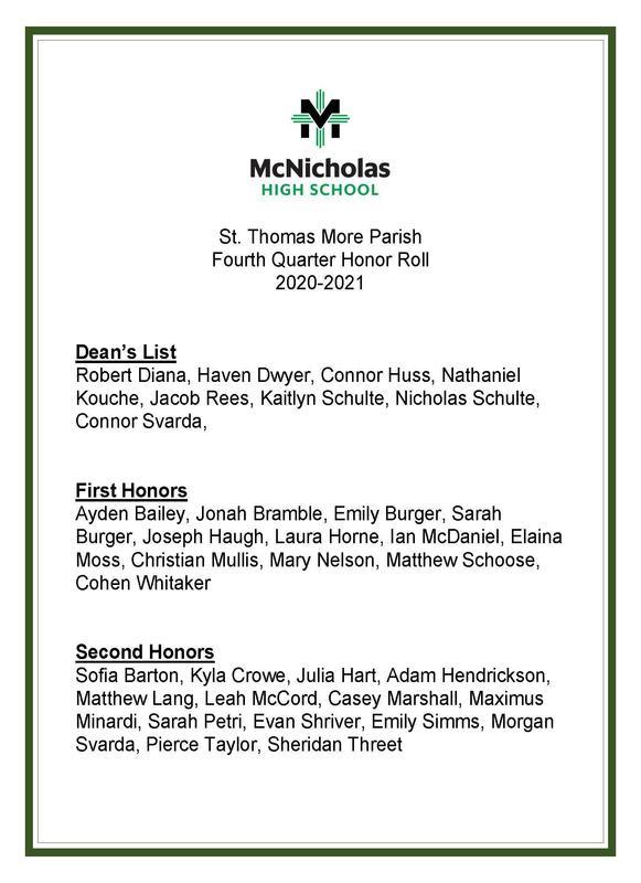 McNicholas High School Fourth Quarter Honor Roll Featured Photo
