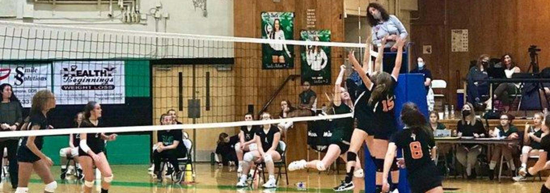 a picture of GMS girls playing volley ball